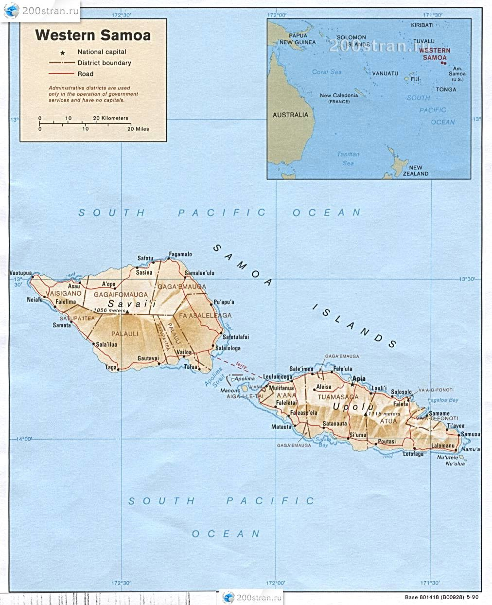 Map of Western Samoa